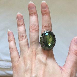 Jewelry - Costume Jewelry, Large Green Gemstone Ring